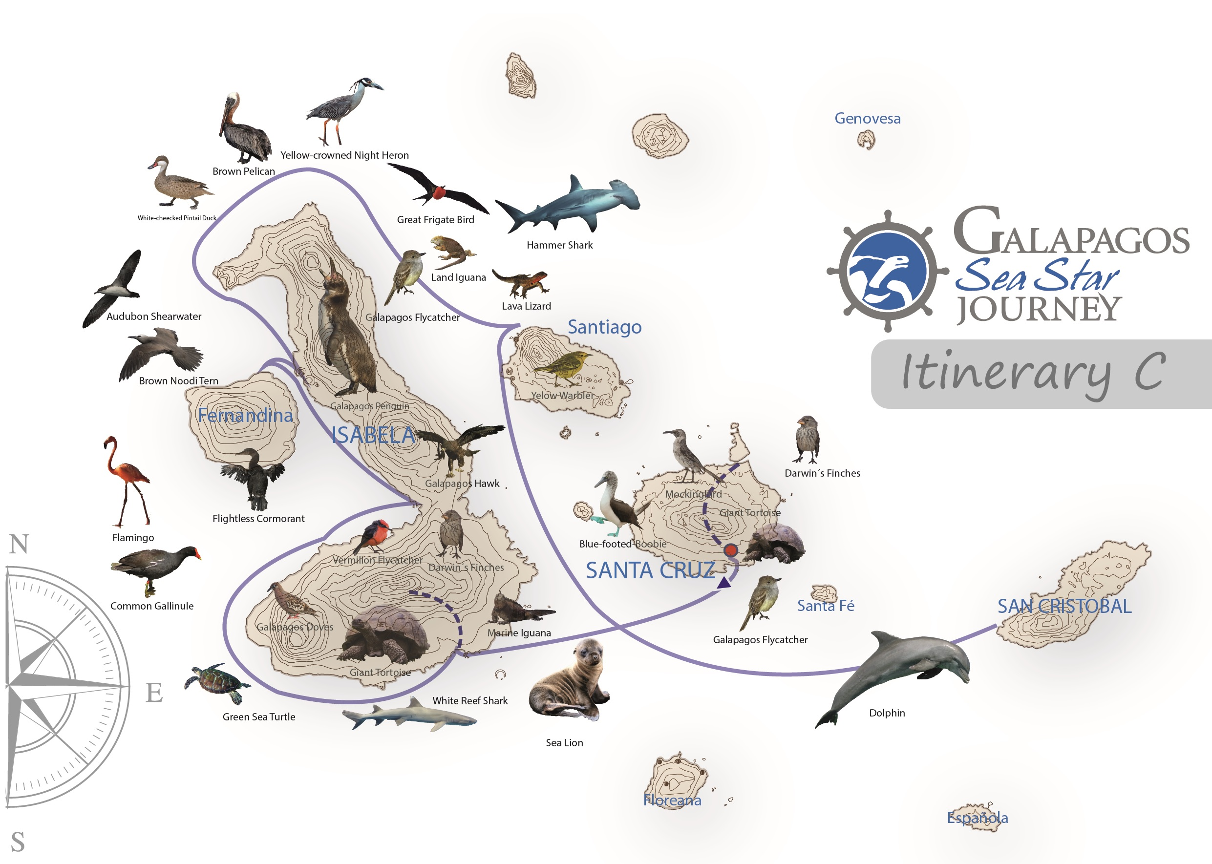Galapagos Sea Star Journey - Itinerary C 6 days Wildlife Map