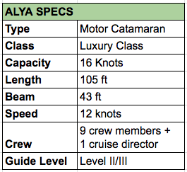 Alya Luxury Catamaran Specs